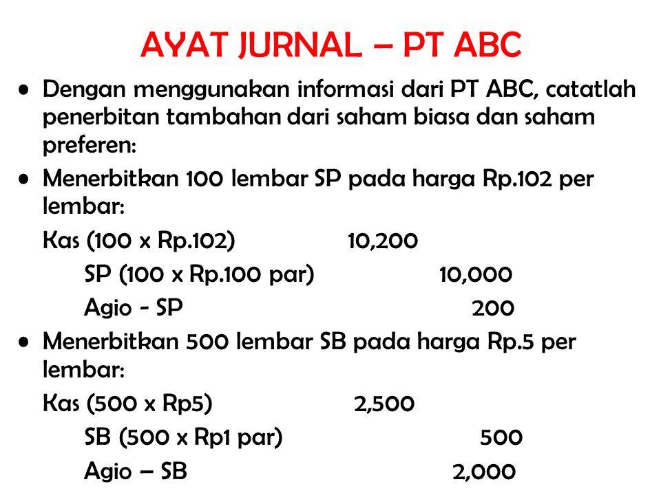 AYAT JURNAL – PT ABC Dengan menggunakan informasi dari PT ABC, catatlah penerbitan tambahan dari saham biasa dan saham preferen: Menerbitkan 100 lemba