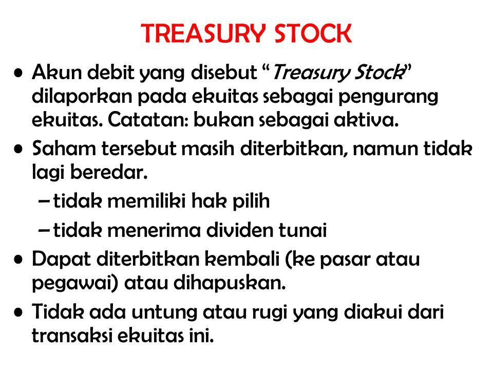 """Akun debit yang disebut """"Treasury Stock"""" dilaporkan pada ekuitas sebagai pengurang ekuitas. Catatan: bukan sebagai aktiva. Saham tersebut masih diterb"""