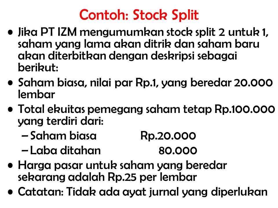 Contoh: Stock Split Jika PT IZM mengumumkan stock split 2 untuk 1, saham yang lama akan ditrik dan saham baru akan diterbitkan dengan deskripsi sebaga