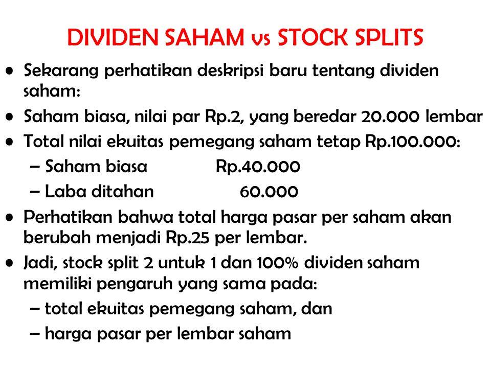 Sekarang perhatikan deskripsi baru tentang dividen saham: Saham biasa, nilai par Rp.2, yang beredar 20.000 lembar Total nilai ekuitas pemegang saham t