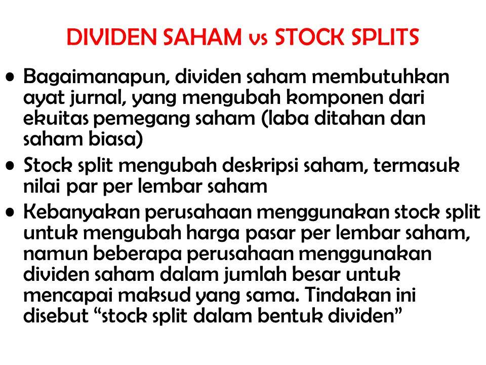 Bagaimanapun, dividen saham membutuhkan ayat jurnal, yang mengubah komponen dari ekuitas pemegang saham (laba ditahan dan saham biasa) Stock split men