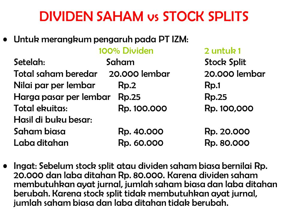 Untuk merangkum pengaruh pada PT IZM: 100% Dividen 2 untuk 1 Setelah: Saham Stock Split Total saham beredar 20.000 lembar20.000 lembar Nilai par per l