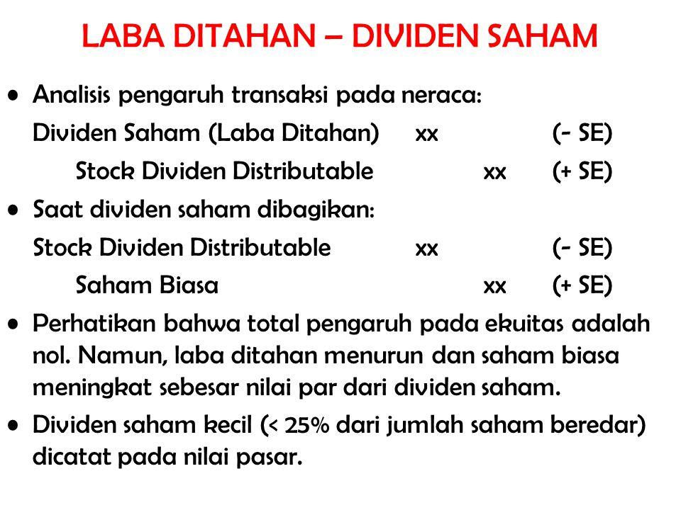 Analisis pengaruh transaksi pada neraca: Dividen Saham (Laba Ditahan)xx(- SE) Stock Dividen Distributablexx (+ SE) Saat dividen saham dibagikan: Stock