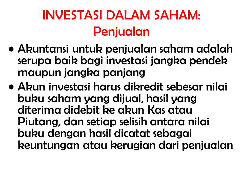 INVESTASI DALAM SAHAM: Penjualan Akuntansi untuk penjualan saham adalah serupa baik bagi investasi jangka pendek maupun jangka panjang Akun investasi