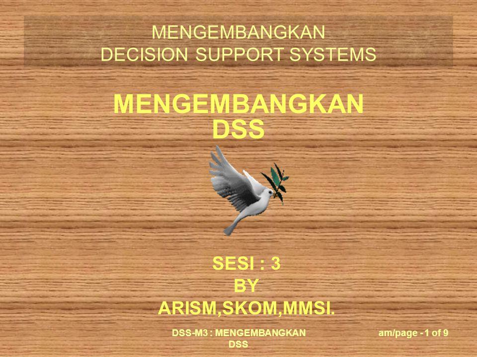 MENGEMBANGKAN DECISION SUPPORT SYSTEMS DSS-M3 : MENGEMBANGKAN DSS am/page - 2 of 9 Komponen Utama Desain Adaptif DSS : (1) Pembangun; (2) Pengguna; (3) Sistem teknis.