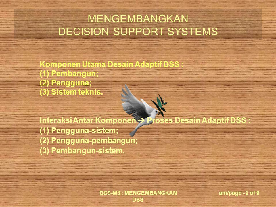 MENGEMBANGKAN DECISION SUPPORT SYSTEMS DSS-M3 : MENGEMBANGKAN DSS am/page - 3 of 9 Tanggungjawab Pengguna : (1) Menghadapi masalah atau peluang; (2) Mengambil tindakan dan menerima konsekuensi; Kebutuhan Untuk Spesifik Pengguna Tidak Berinteraksi Langsusng  Sistem Teknis : (1) Perantara—intermediary/clerk—sebagai interface antara pengguna dengan sistem; (2) Staf asisten—berinteraksi dengan pengguna  memberikan usulan.