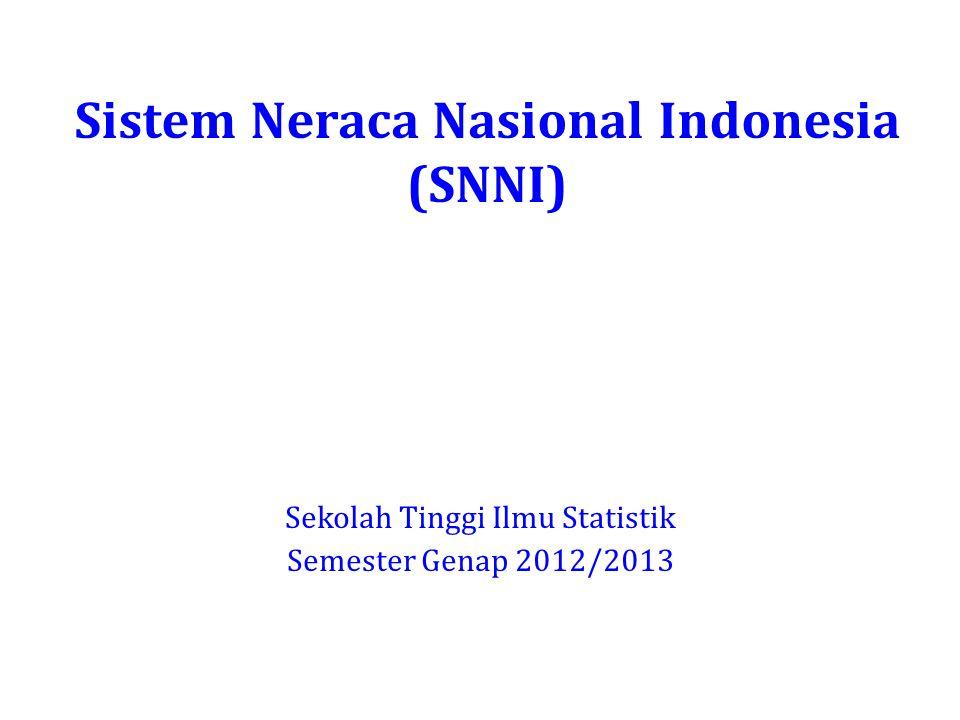 Sistem Neraca Nasional Indonesia (SNNI) Sekolah Tinggi Ilmu Statistik Semester Genap 2012/2013