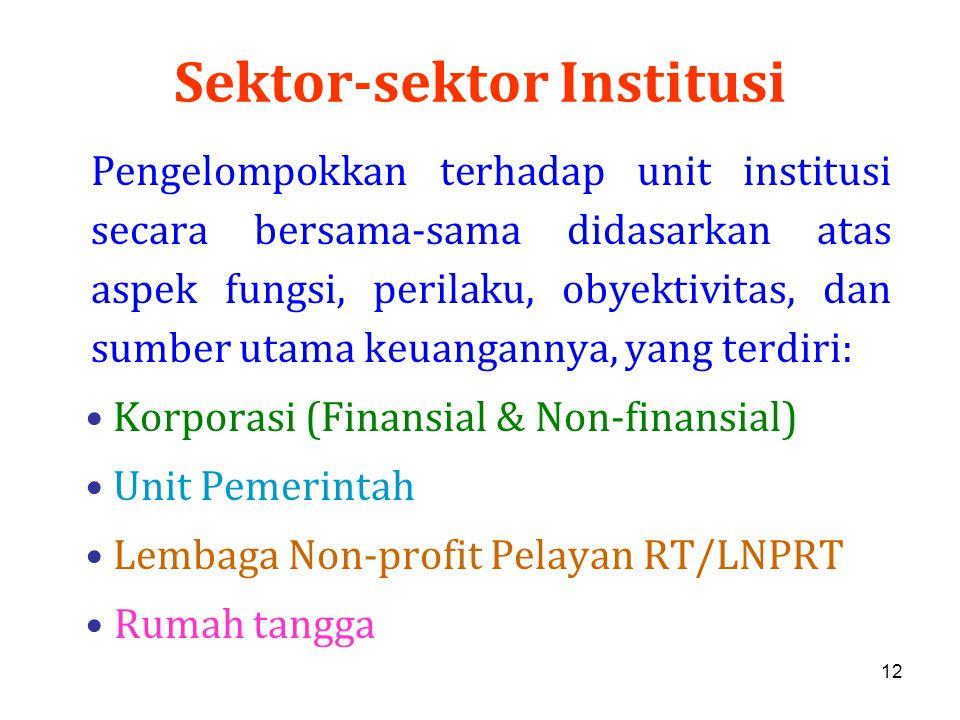 12 Sektor-sektor Institusi Pengelompokkan terhadap unit institusi secara bersama-sama didasarkan atas aspek fungsi, perilaku, obyektivitas, dan sumber