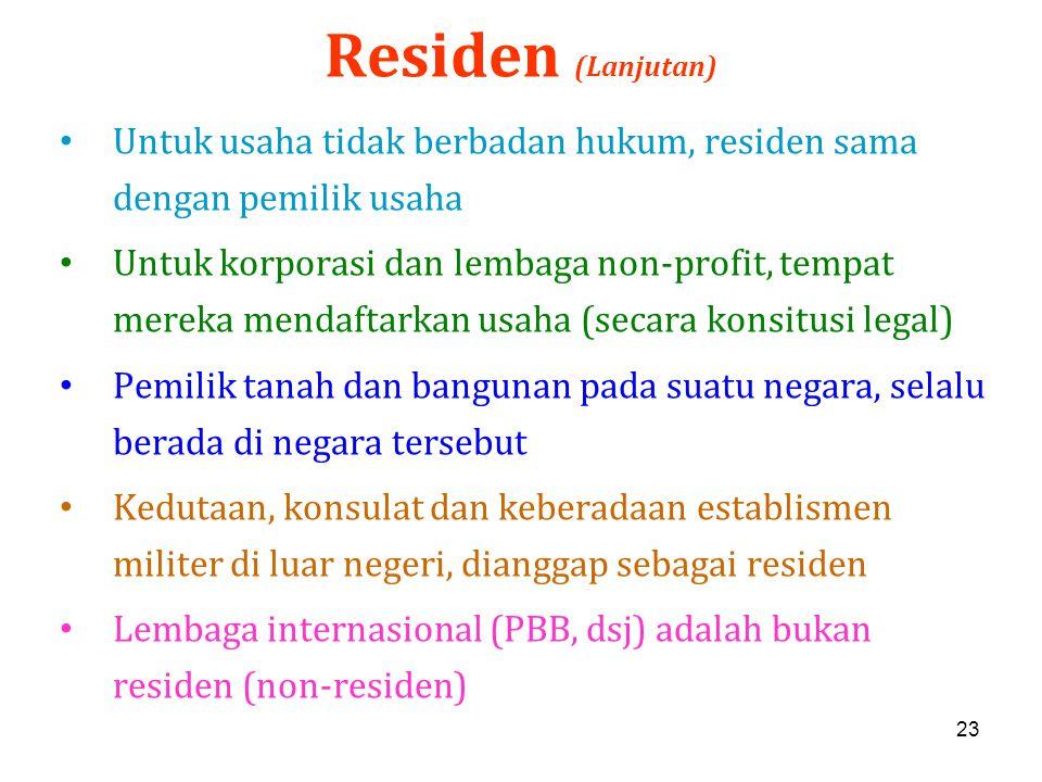 23 Residen (Lanjutan) Untuk usaha tidak berbadan hukum, residen sama dengan pemilik usaha Untuk korporasi dan lembaga non-profit, tempat mereka mendaf