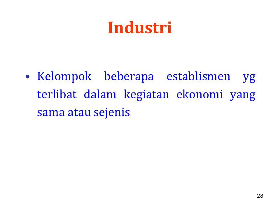 28 Industri Kelompok beberapa establismen yg terlibat dalam kegiatan ekonomi yang sama atau sejenis