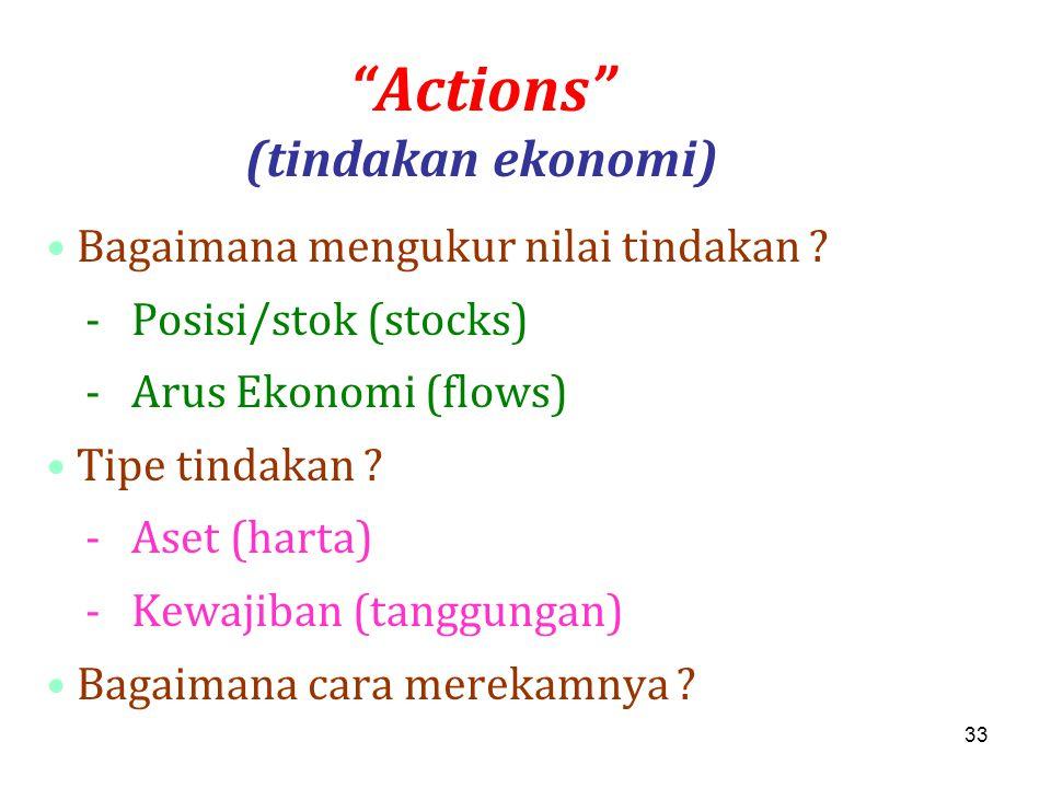 """33 """"Actions"""" (tindakan ekonomi) Bagaimana mengukur nilai tindakan ? - Posisi/stok (stocks) - Arus Ekonomi (flows) Tipe tindakan ? - Aset (harta) - Kew"""