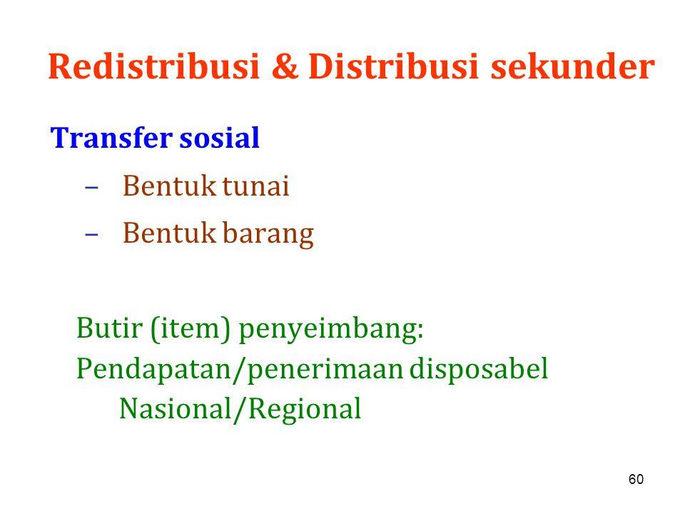 60 Redistribusi & Distribusi sekunder Transfer sosial –Bentuk tunai –Bentuk barang Butir (item) penyeimbang: Pendapatan/penerimaan disposabel Nasional