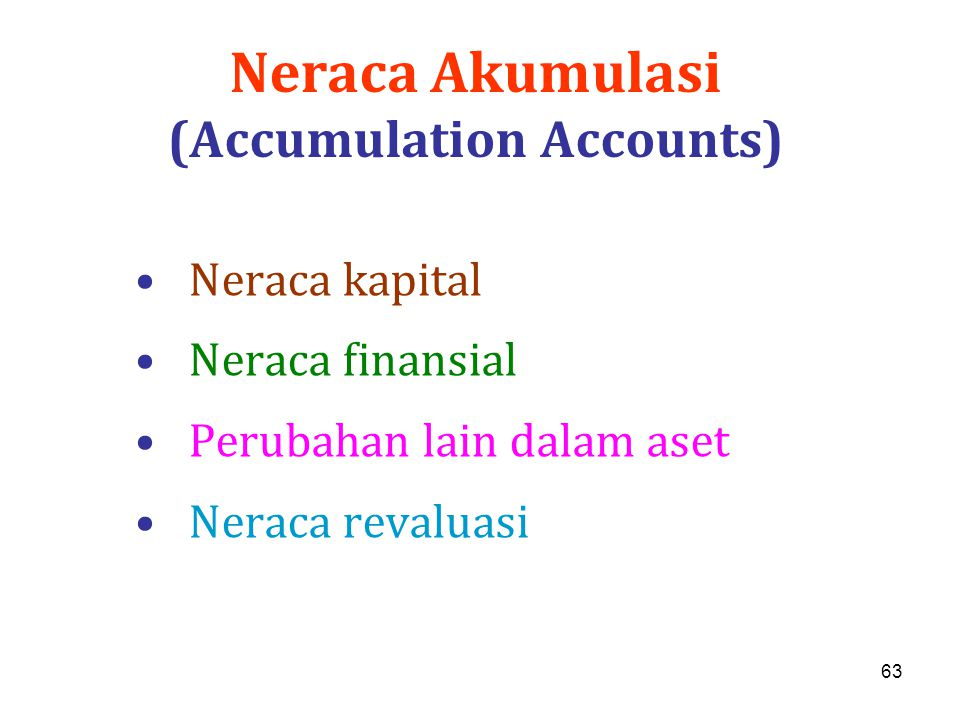 63 Neraca Akumulasi (Accumulation Accounts) Neraca kapital Neraca finansial Perubahan lain dalam aset Neraca revaluasi