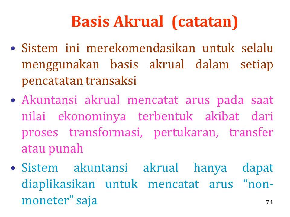 74 Basis Akrual (catatan) Sistem ini merekomendasikan untuk selalu menggunakan basis akrual dalam setiap pencatatan transaksi Akuntansi akrual mencata