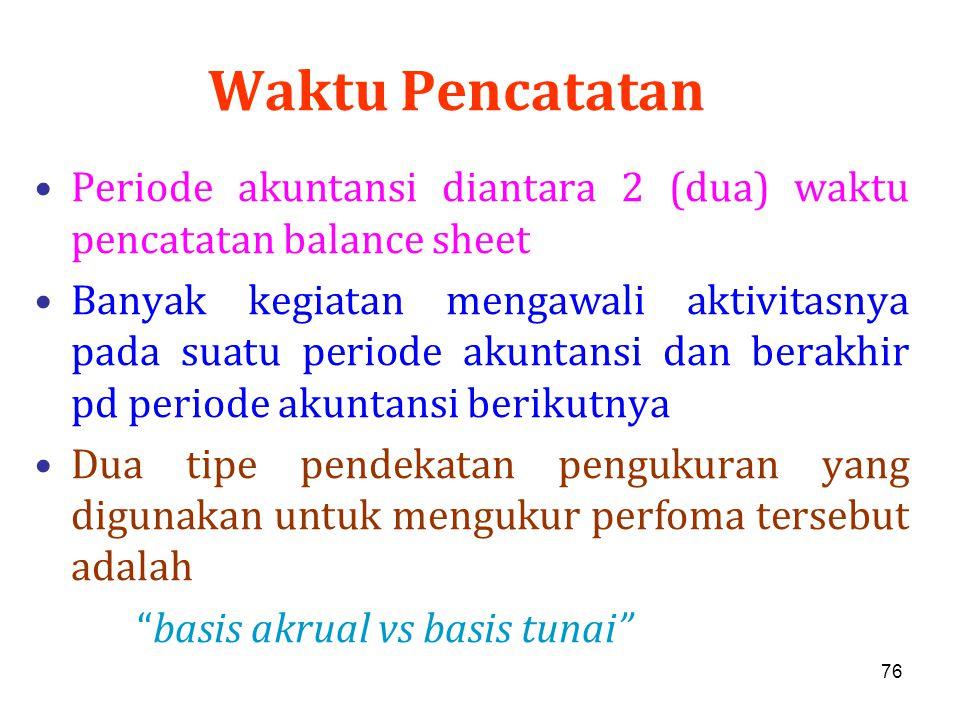 76 Waktu Pencatatan Periode akuntansi diantara 2 (dua) waktu pencatatan balance sheet Banyak kegiatan mengawali aktivitasnya pada suatu periode akunta