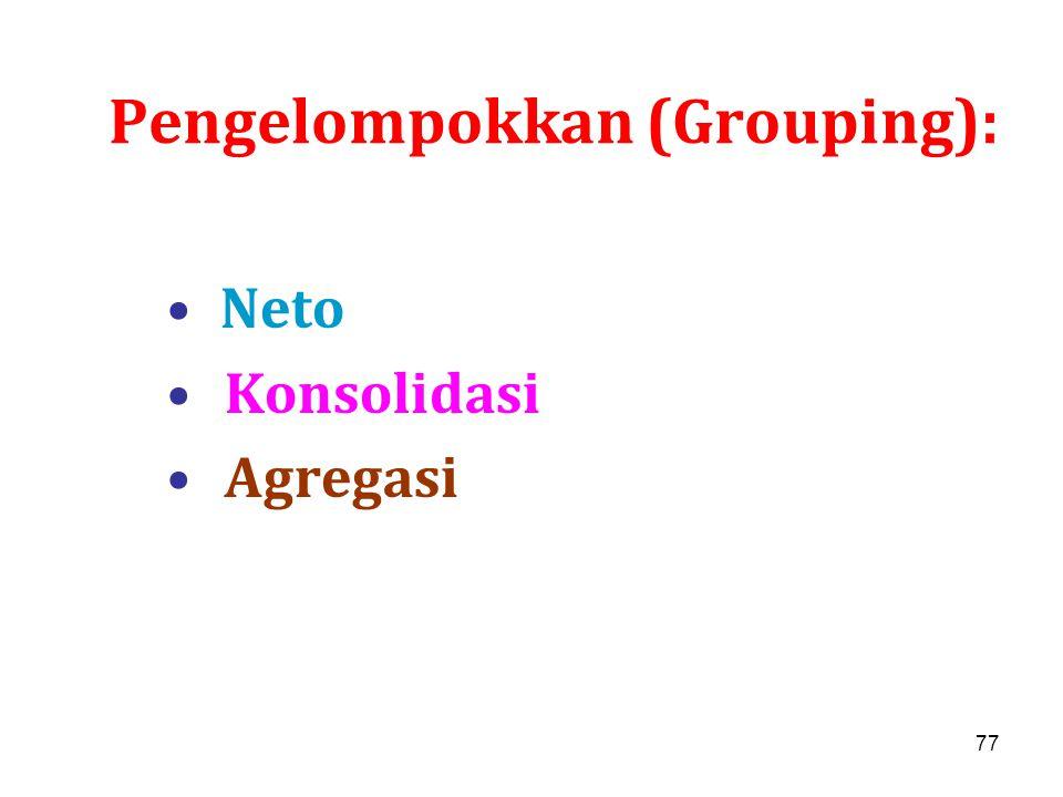 77 Pengelompokkan (Grouping): Neto Konsolidasi Agregasi