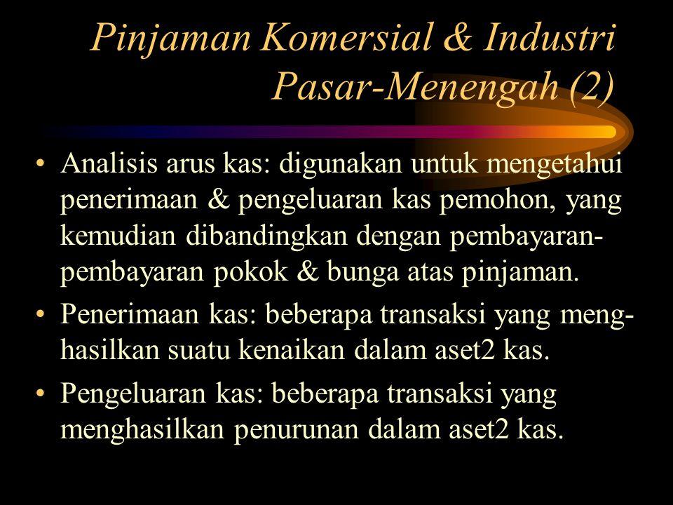 Pinjaman Komersial & Industri Pasar-Menengah (2) Analisis arus kas: digunakan untuk mengetahui penerimaan & pengeluaran kas pemohon, yang kemudian dib