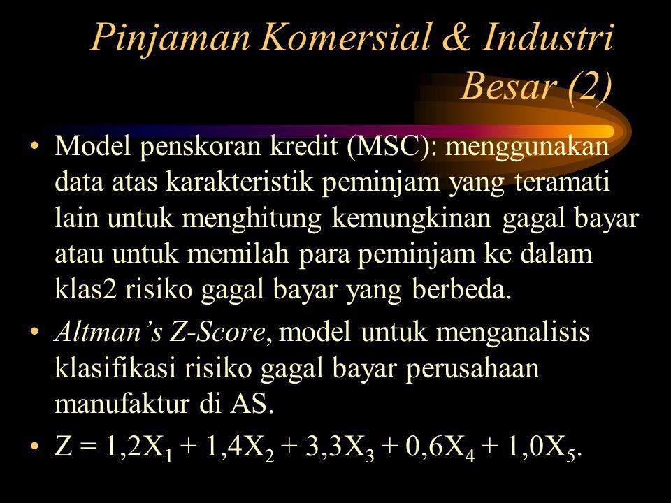 Pinjaman Komersial & Industri Besar (2) Model penskoran kredit (MSC): menggunakan data atas karakteristik peminjam yang teramati lain untuk menghitung