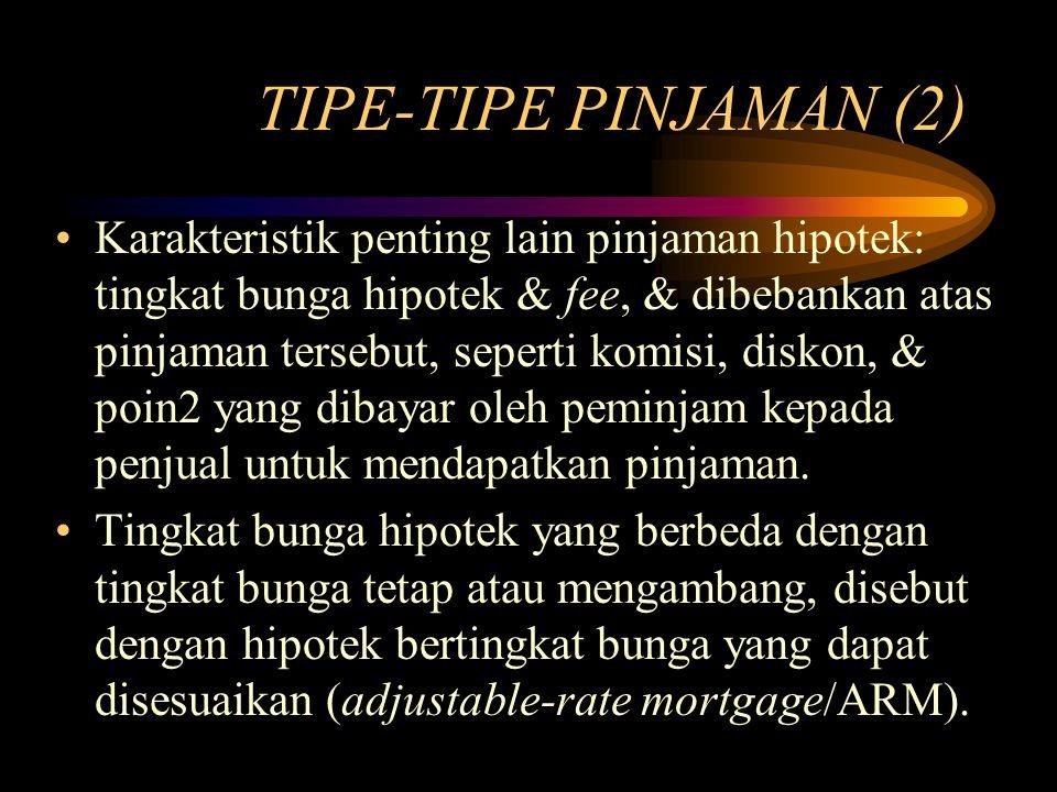 TIPE-TIPE PINJAMAN (2) Karakteristik penting lain pinjaman hipotek: tingkat bunga hipotek & fee, & dibebankan atas pinjaman tersebut, seperti komisi,