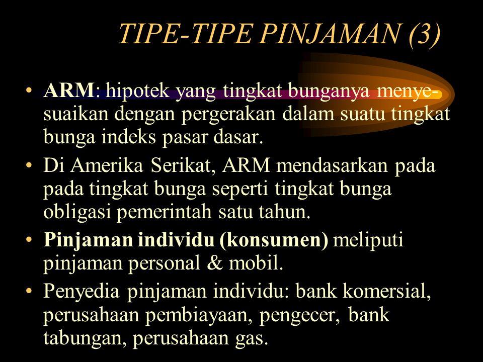 TIPE-TIPE PINJAMAN (3) ARM: hipotek yang tingkat bunganya menye- suaikan dengan pergerakan dalam suatu tingkat bunga indeks pasar dasar. Di Amerika Se