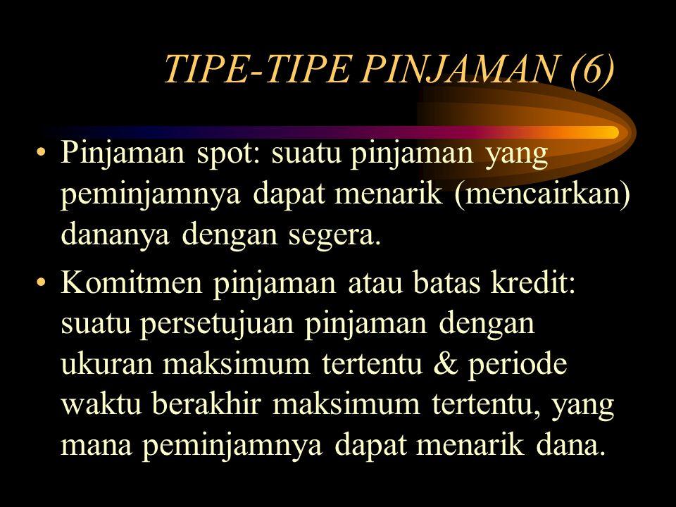 TIPE-TIPE PINJAMAN (6) Pinjaman spot: suatu pinjaman yang peminjamnya dapat menarik (mencairkan) dananya dengan segera. Komitmen pinjaman atau batas k