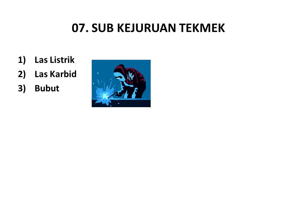 07. SUB KEJURUAN TEKMEK 1)Las Listrik 2)Las Karbid 3)Bubut