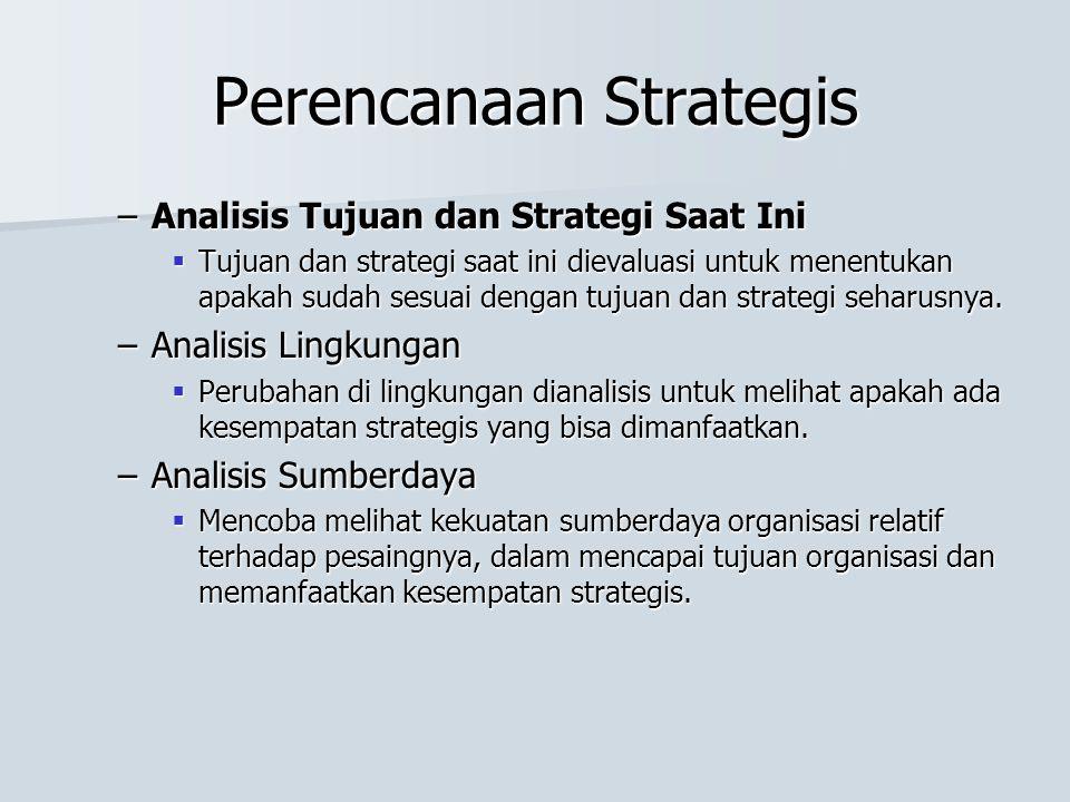 Perencanaan Strategis –Analisis Tujuan dan Strategi Saat Ini  Tujuan dan strategi saat ini dievaluasi untuk menentukan apakah sudah sesuai dengan tujuan dan strategi seharusnya.