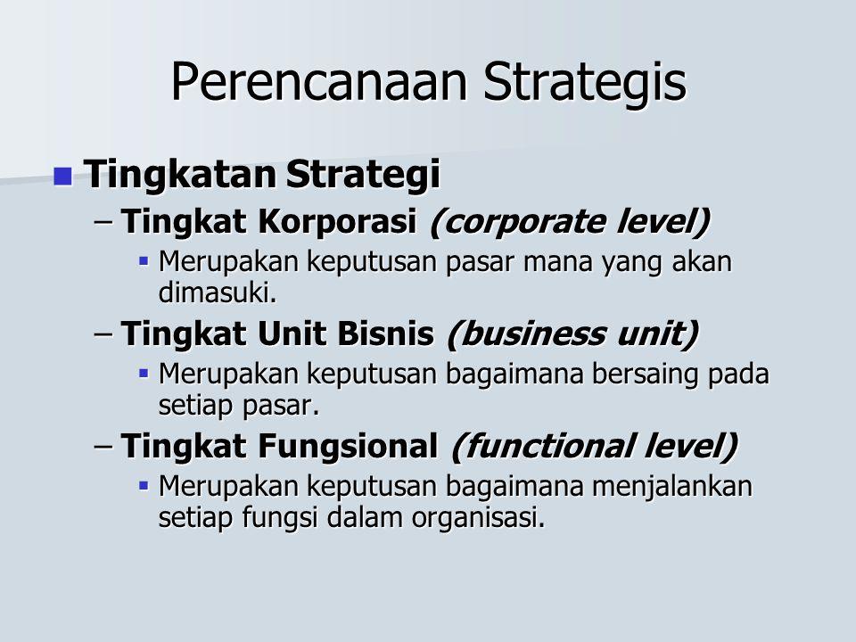 Perencanaan Strategis Tingkatan Strategi Tingkatan Strategi –Tingkat Korporasi (corporate level)  Merupakan keputusan pasar mana yang akan dimasuki.
