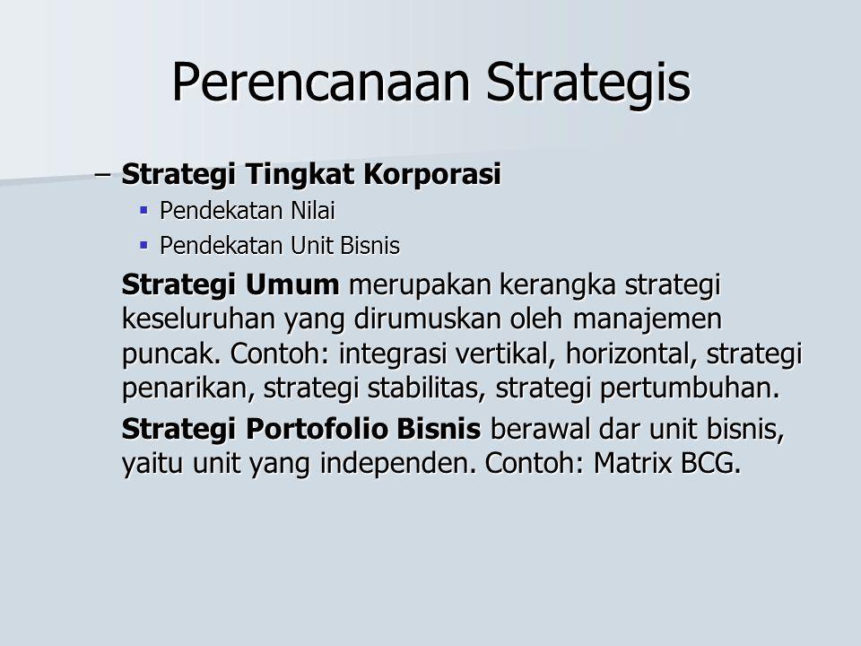 Perencanaan Strategis –Strategi Tingkat Korporasi  Pendekatan Nilai  Pendekatan Unit Bisnis Strategi Umum merupakan kerangka strategi keseluruhan yang dirumuskan oleh manajemen puncak.