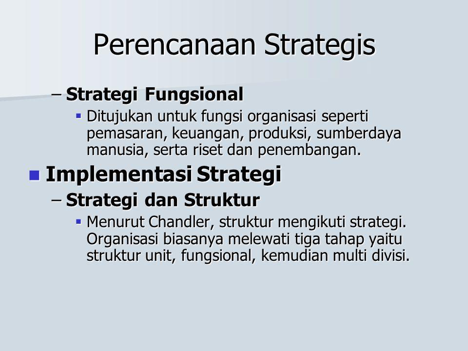 Perencanaan Strategis –Strategi Fungsional  Ditujukan untuk fungsi organisasi seperti pemasaran, keuangan, produksi, sumberdaya manusia, serta riset dan penembangan.