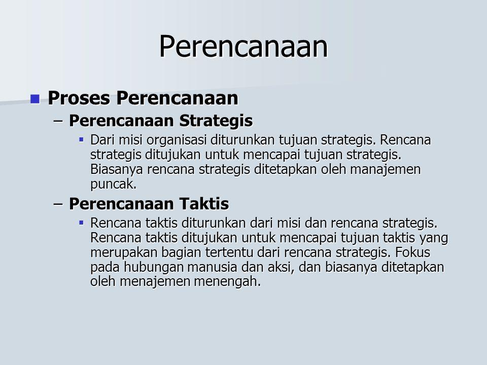 Perencanaan Proses Perencanaan Proses Perencanaan –Perencanaan Strategis  Dari misi organisasi diturunkan tujuan strategis.