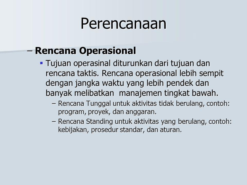 Perencanaan –Rencana Operasional  Tujuan operasinal diturunkan dari tujuan dan rencana taktis.