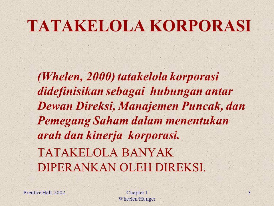 Prentice Hall, 2002Chapter 1 Wheelen/Hunger 3 TATAKELOLA KORPORASI (Whelen, 2000) tatakelola korporasi didefinisikan sebagai hubungan antar Dewan Dire