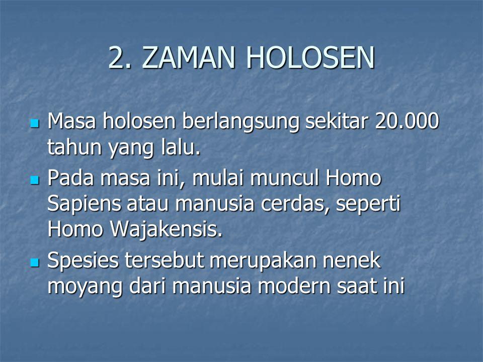 2.ZAMAN HOLOSEN Masa holosen berlangsung sekitar 20.000 tahun yang lalu.