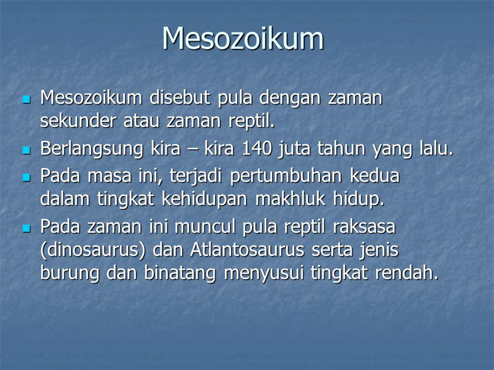 Mesozoikum Mesozoikum disebut pula dengan zaman sekunder atau zaman reptil.