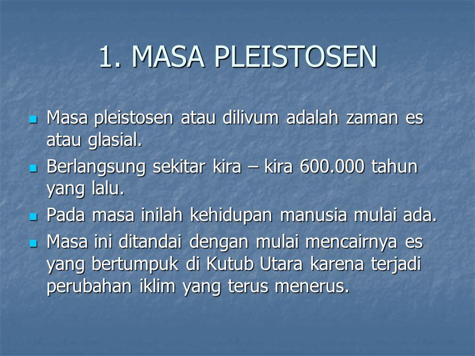 1.MASA PLEISTOSEN Masa pleistosen atau dilivum adalah zaman es atau glasial.