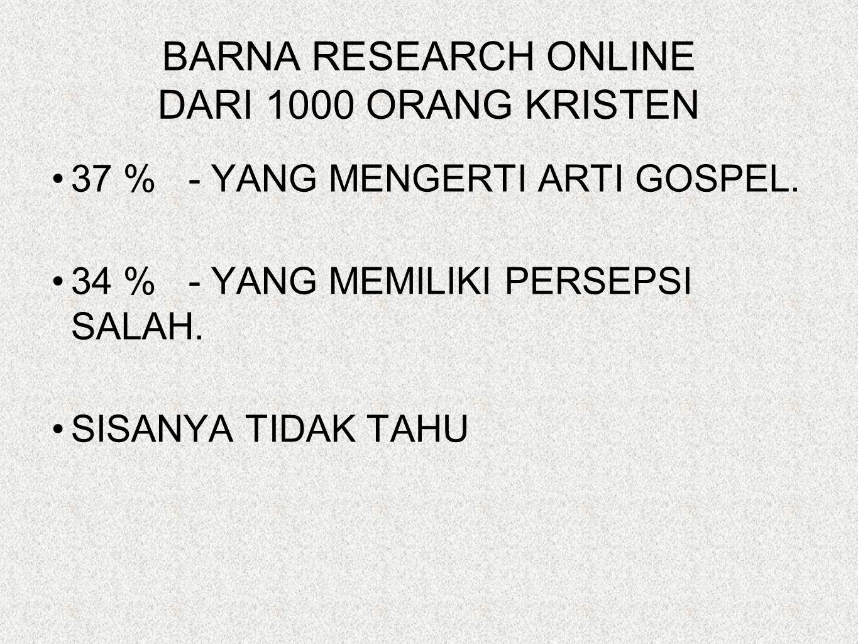 BARNA RESEARCH ONLINE DARI 1000 ORANG KRISTEN 37 % - YANG MENGERTI ARTI GOSPEL.