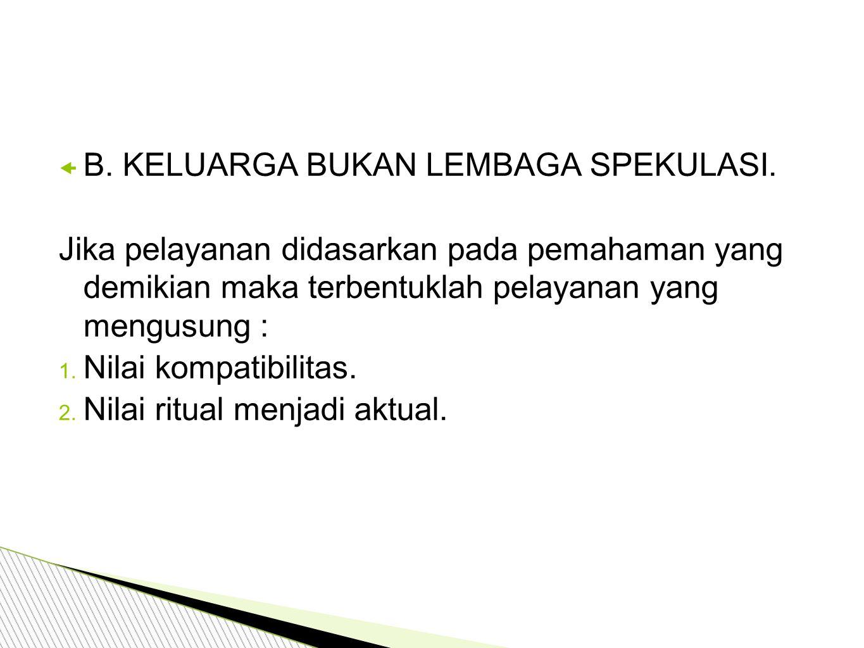  B.KELUARGA BUKAN LEMBAGA SPEKULASI.