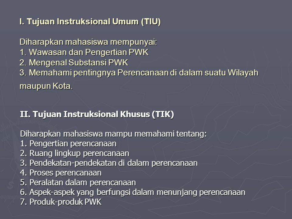 I. Tujuan Instruksional Umum (TIU) Diharapkan mahasiswa mempunyai: 1. Wawasan dan Pengertian PWK 2. Mengenal Substansi PWK 3. Memahami pentingnya Pere