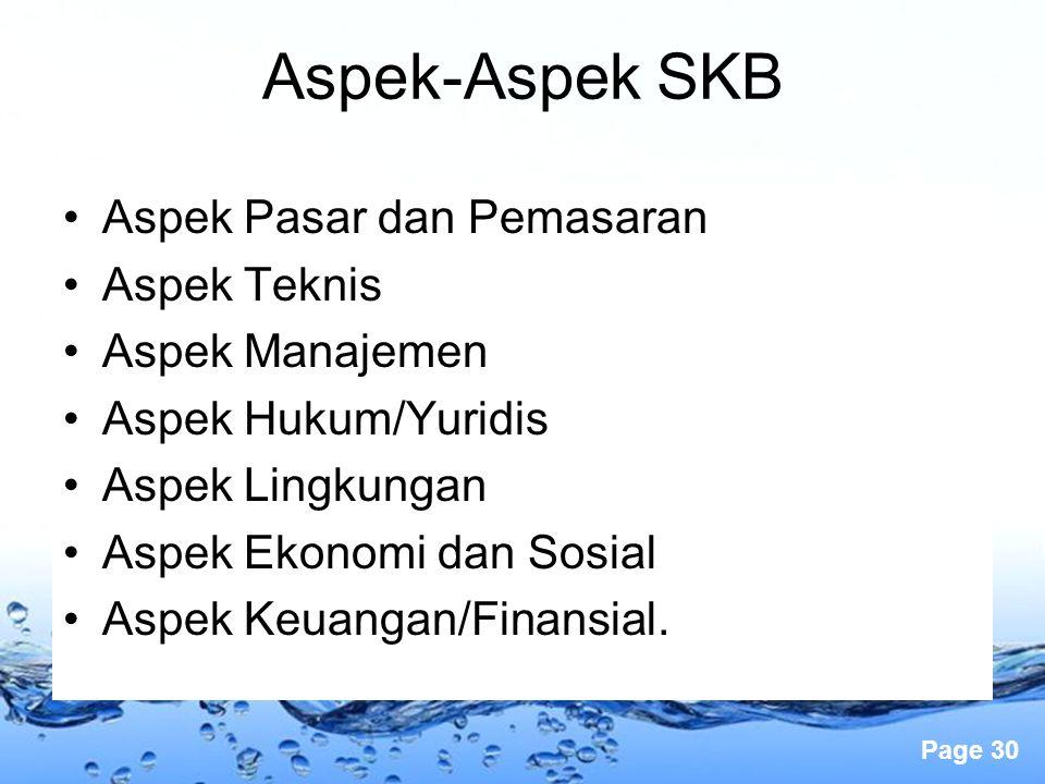 Page 30 Aspek Pasar dan Pemasaran Aspek Teknis Aspek Manajemen Aspek Hukum/Yuridis Aspek Lingkungan Aspek Ekonomi dan Sosial Aspek Keuangan/Finansial.