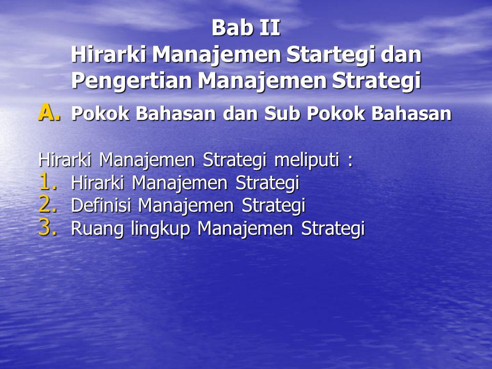 Bab II Hirarki Manajemen Startegi dan Pengertian Manajemen Strategi A. Pokok Bahasan dan Sub Pokok Bahasan Hirarki Manajemen Strategi meliputi : 1. Hi