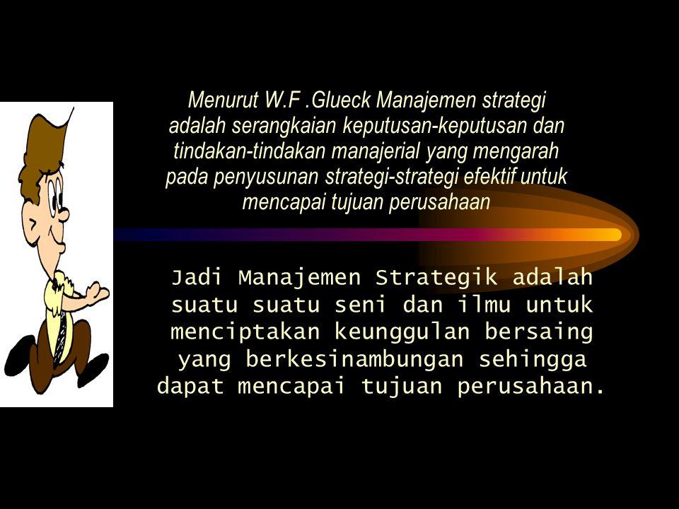 Menurut W.F.Glueck Manajemen strategi adalah serangkaian keputusan-keputusan dan tindakan-tindakan manajerial yang mengarah pada penyusunan strategi-s