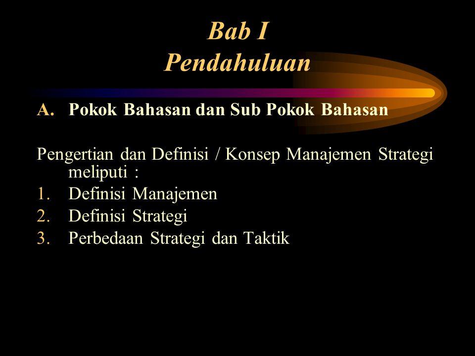 Bab I Pendahuluan A.Pokok Bahasan dan Sub Pokok Bahasan Pengertian dan Definisi / Konsep Manajemen Strategi meliputi : 1.Definisi Manajemen 2.Definisi