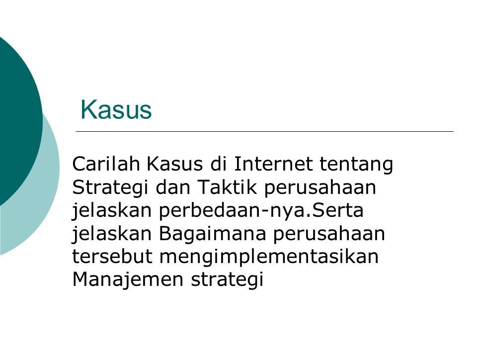 Kasus Carilah Kasus di Internet tentang Strategi dan Taktik perusahaan jelaskan perbedaan-nya.Serta jelaskan Bagaimana perusahaan tersebut mengimpleme