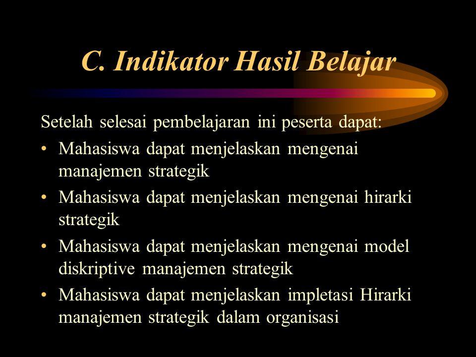 C. Indikator Hasil Belajar Setelah selesai pembelajaran ini peserta dapat: Mahasiswa dapat menjelaskan mengenai manajemen strategik Mahasiswa dapat me
