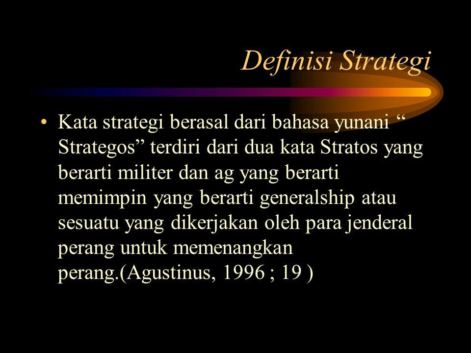 """Definisi Strategi Kata strategi berasal dari bahasa yunani """" Strategos"""" terdiri dari dua kata Stratos yang berarti militer dan ag yang berarti memimpi"""