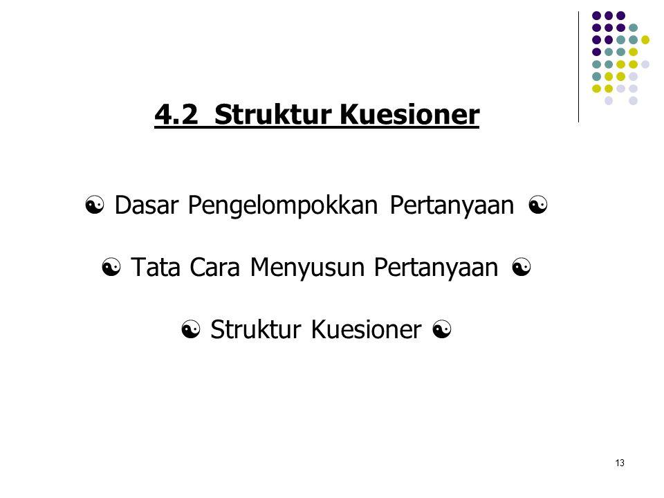 13 4.2 Struktur Kuesioner  Dasar Pengelompokkan Pertanyaan   Tata Cara Menyusun Pertanyaan   Struktur Kuesioner 
