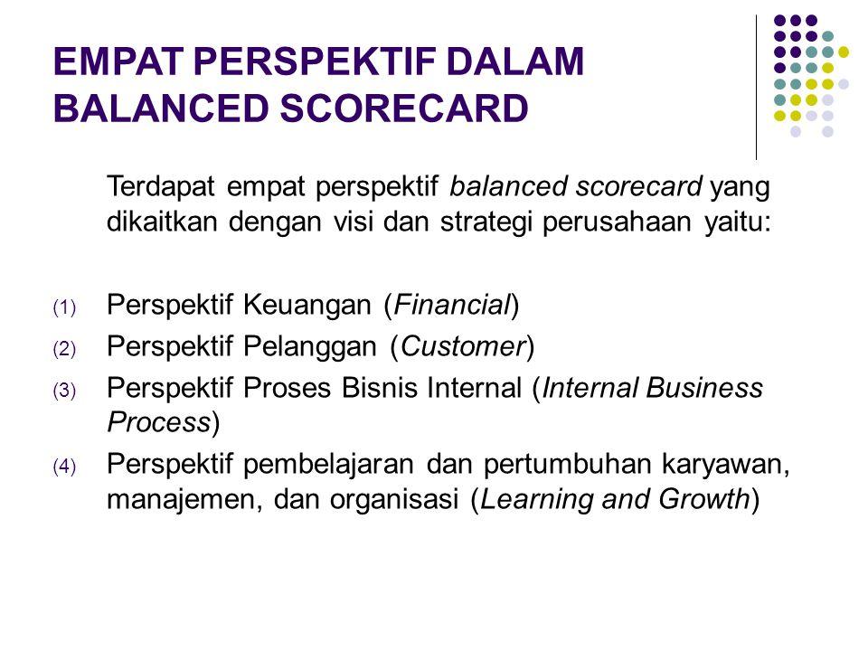 EMPAT PERSPEKTIF DALAM BALANCED SCORECARD Terdapat empat perspektif balanced scorecard yang dikaitkan dengan visi dan strategi perusahaan yaitu: (1) P