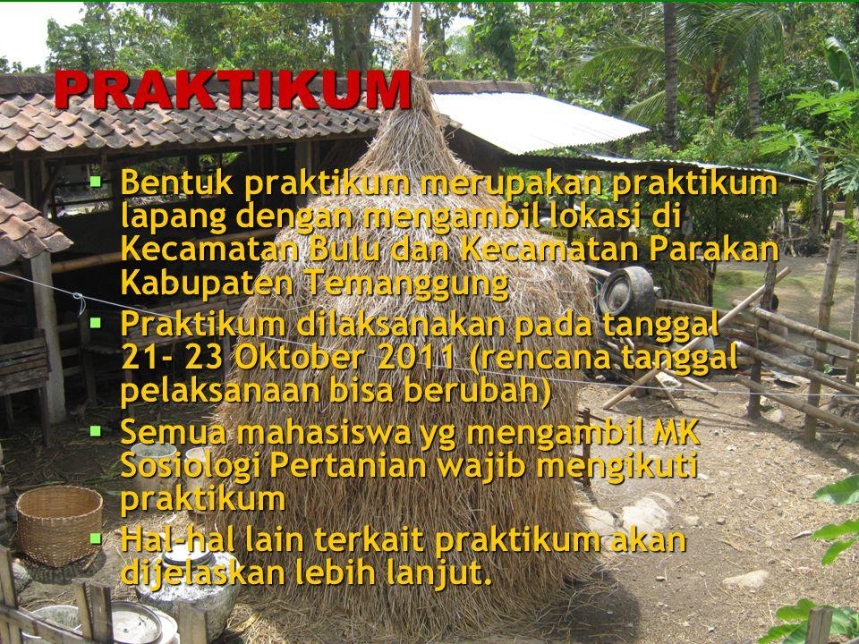 PRAKTIKUM  Bentuk praktikum merupakan praktikum lapang dengan mengambil lokasi di Kecamatan Bulu dan Kecamatan Parakan Kabupaten Temanggung  Praktik
