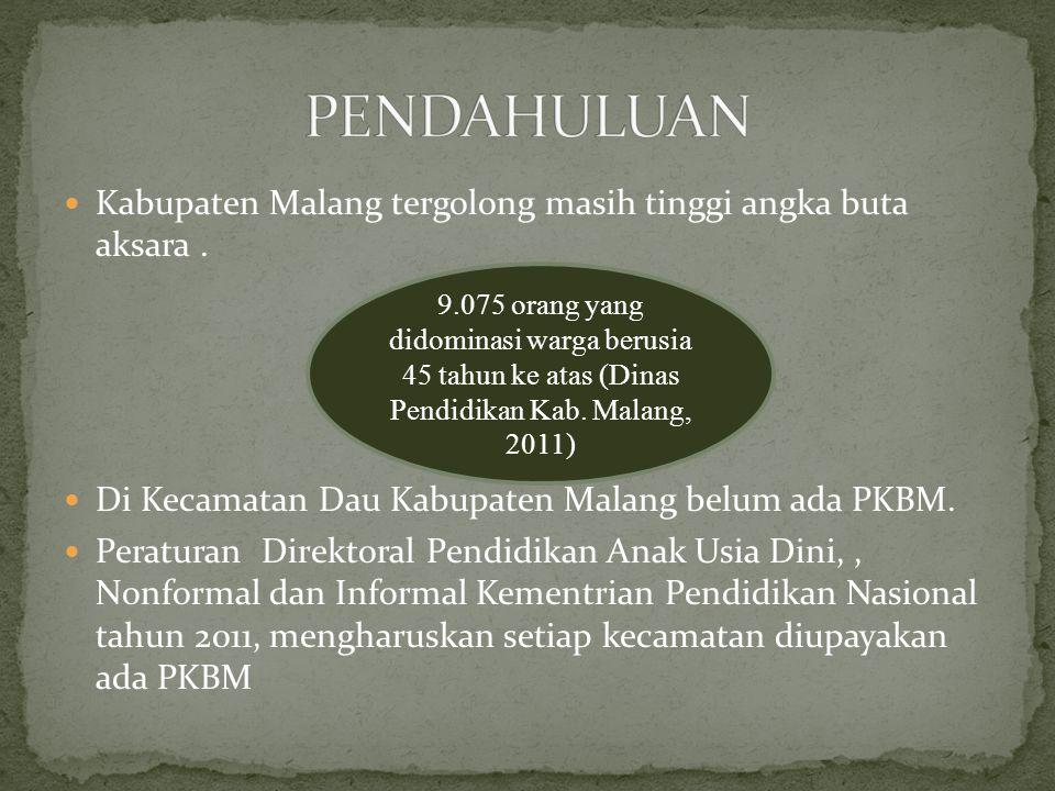 Kabupaten Malang tergolong masih tinggi angka buta aksara. Di Kecamatan Dau Kabupaten Malang belum ada PKBM. Peraturan Direktoral Pendidikan Anak Usia